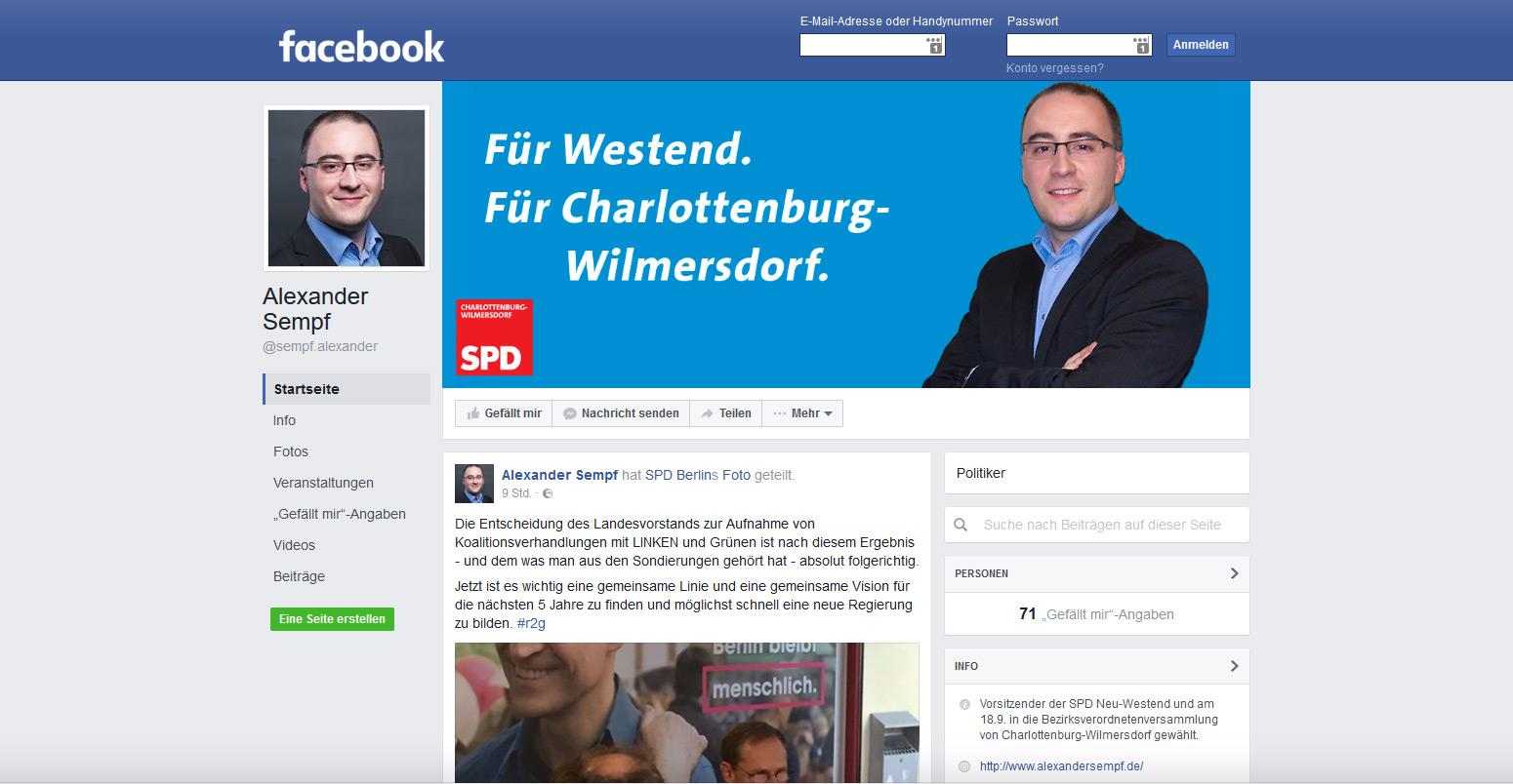 Screenshot Facebook-Seite