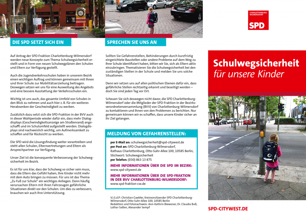 Foto: SPD Flyer Schulwegsicherheit 2018